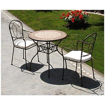 Mesa de hierro forjado mod. Groove, diseño de mosaico mármol ...