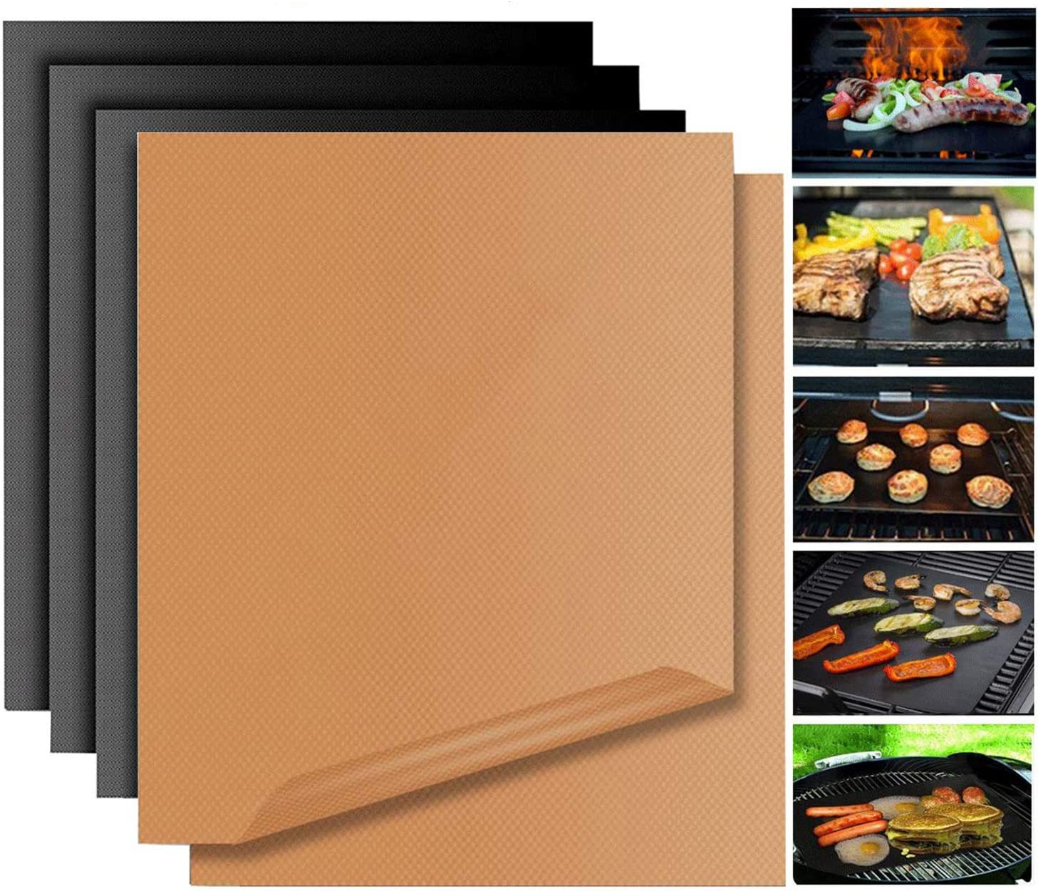 Copper Grill Mat Non Stick BBQ Bake Mat Magic Set 5 Reusable Baking Sheets Easy to Clean PTFE Teflon Fiber Grill Roast for Gas Charcoal Electric Grill ...