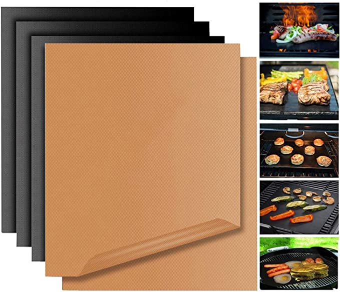 Grill Mat Non Stick BBQ Copper Magic Bake Mat Set of 5 Reusable Easy to Clean PTFE Teflon Fiber Grill Roast Sheets for Gas, Charcoal, Electric Outdoor ...