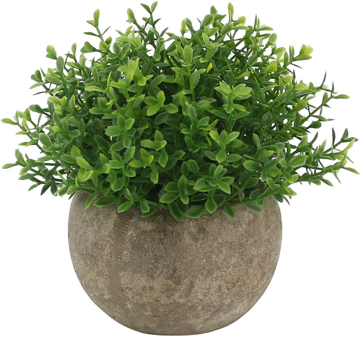 Ogrmar Mini Plastic Artificial Plants Grass in Pot/Small Artificial Faux Greenery/Mini Plants Topiary Shrubs Fake Plants for Bathroom, House Decorations (Green Leaf)