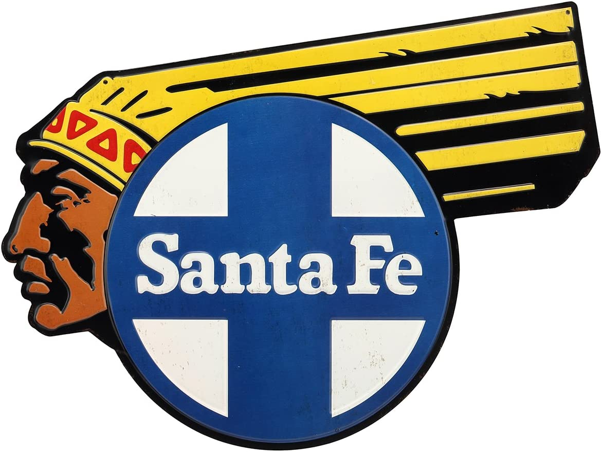 Open Road Brands BNSF Native American Santa Fe Embossed Tin Metal Wall Art Sign - an Officially Licensed Product Great Addition to Add What You Love to Your Home/Garage Decor