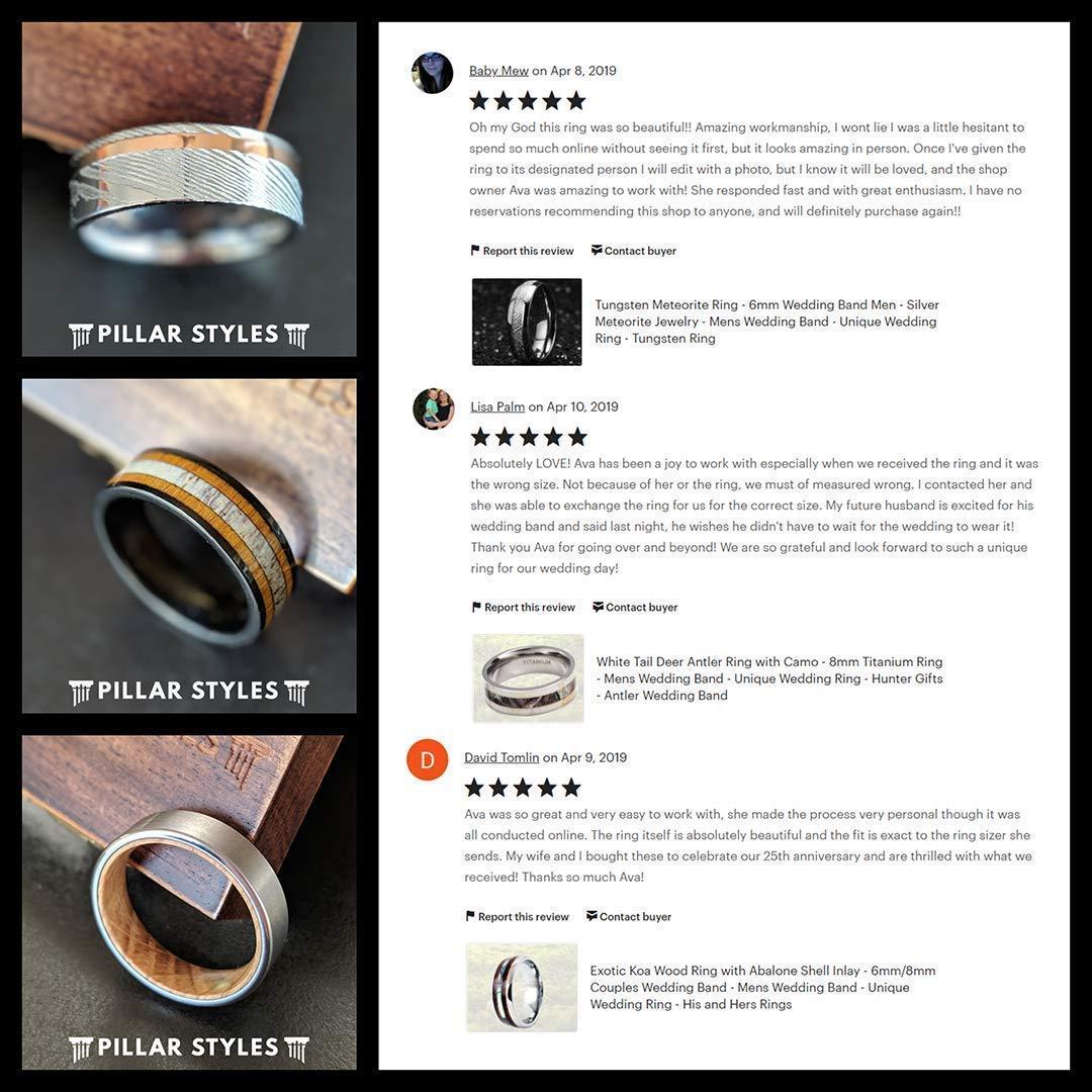 Amazon Com 6mm Meteorite Ring Womens Wedding Band 18k Rose Gold