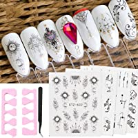 WJood 24 Sheets Black Designs Nail Art Water Transfer Decals Metallic Nail Stencil Sticker for Nail Art Design With Free Gift Tweezers and Finger Toe Separator