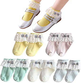 Toddler Baby Socks Girls Kids Princess Bowknot Lace Floral Short Luxury Ankle On