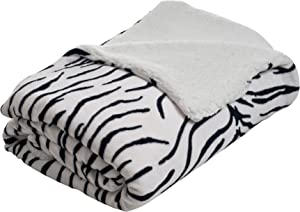 Lavish Home Fleece Blanket with Sherpa Backing, King, Zebra