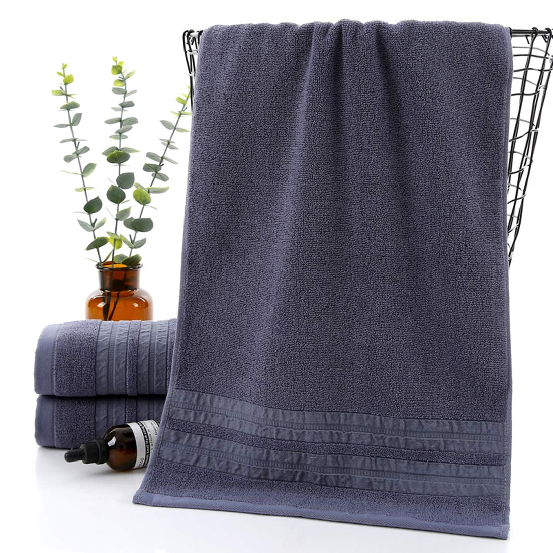 Green Premium Towel Set 100/% Cotton Striped Bath Towels Hand Towels Bathroom Decor 3 Piece