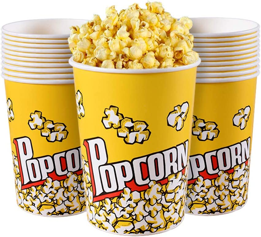MyLifeUNIT Popcorn Boxes, 32 OZ Paper Popcorn Containers for Party and Movie Night (20 Pack)