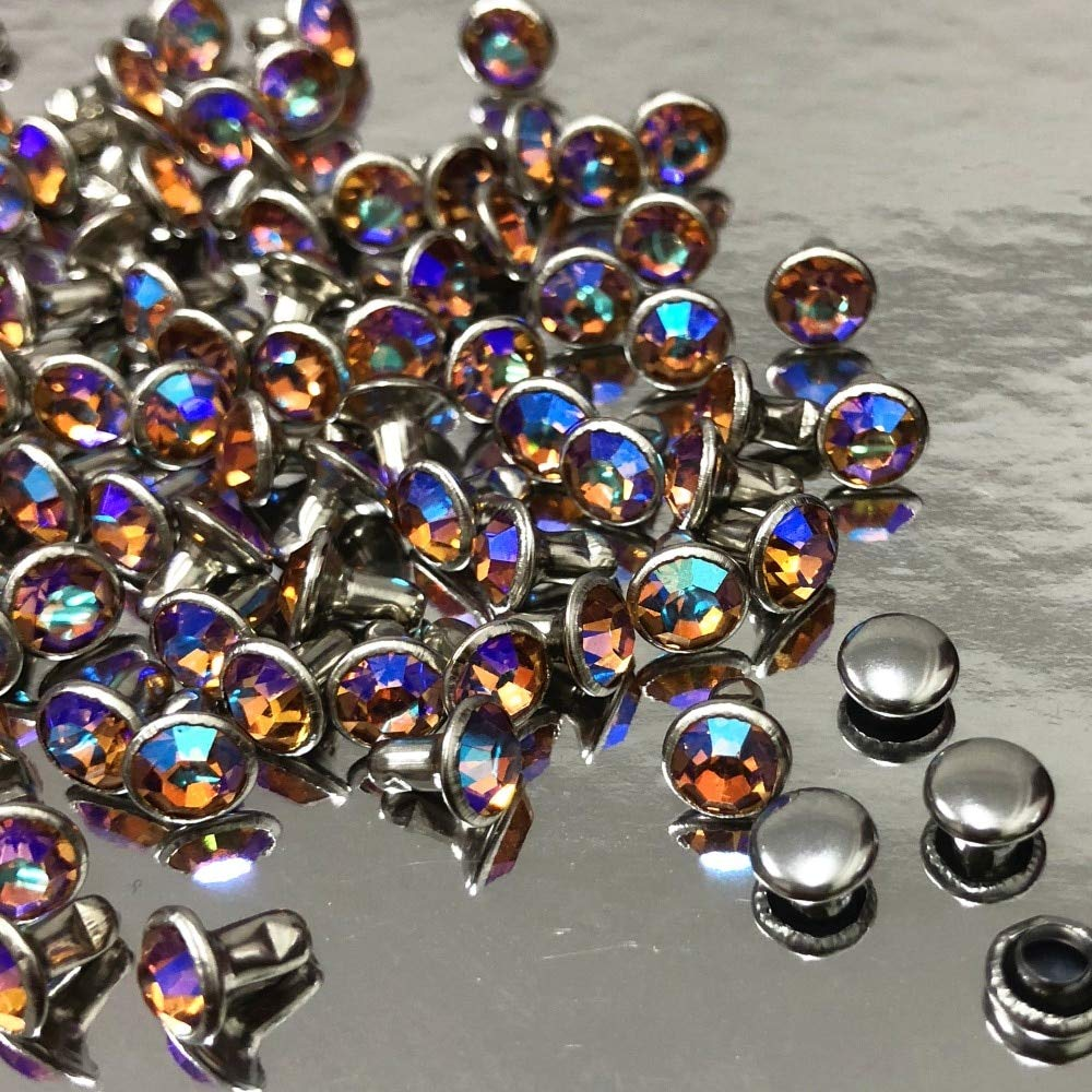 6MM 50Set CZ+ Garment Rivet Champagne AB Crystal AB Plated Rapid Rivets Silver Plated Studs Assorted Cabochon Rivets Fit for Leather-Craft