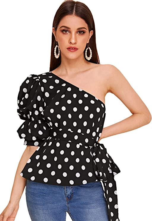 80s Tops, Shirts, T-shirts, Blouse Romwe Womens One Shoulder Short Puff Sleeve Self Belted Solid Blouse Top $18.99 AT vintagedancer.com