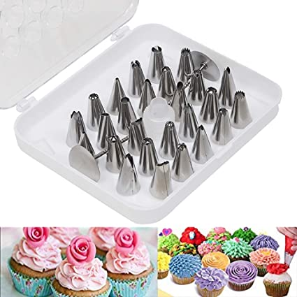 Kurtzy Stainless Steel 26pcs Cake Icing Nozzles For Decorating Cupcake Pastries