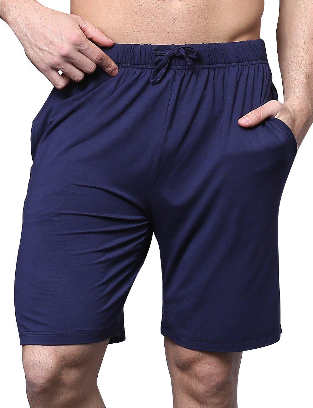 GYS Men's Bamboo Pajama Bottom Lounge Shorts (XL, Navy)