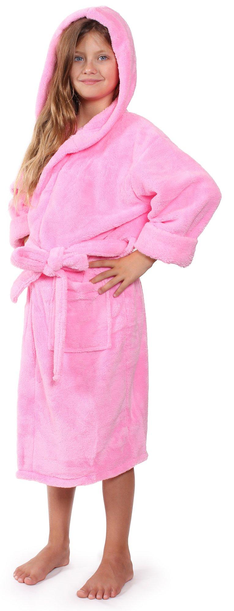 Indulge Girls Robe, Kids Hooded Soft and Plush Bathrobe, Made in Turkey (Pink, Large)