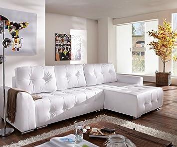 Ecksofa mit schlaffunktion weiß  Couch Tania Weiss 295x170 cm mit Schlaffunktion abgesteppt Ecksofa ...