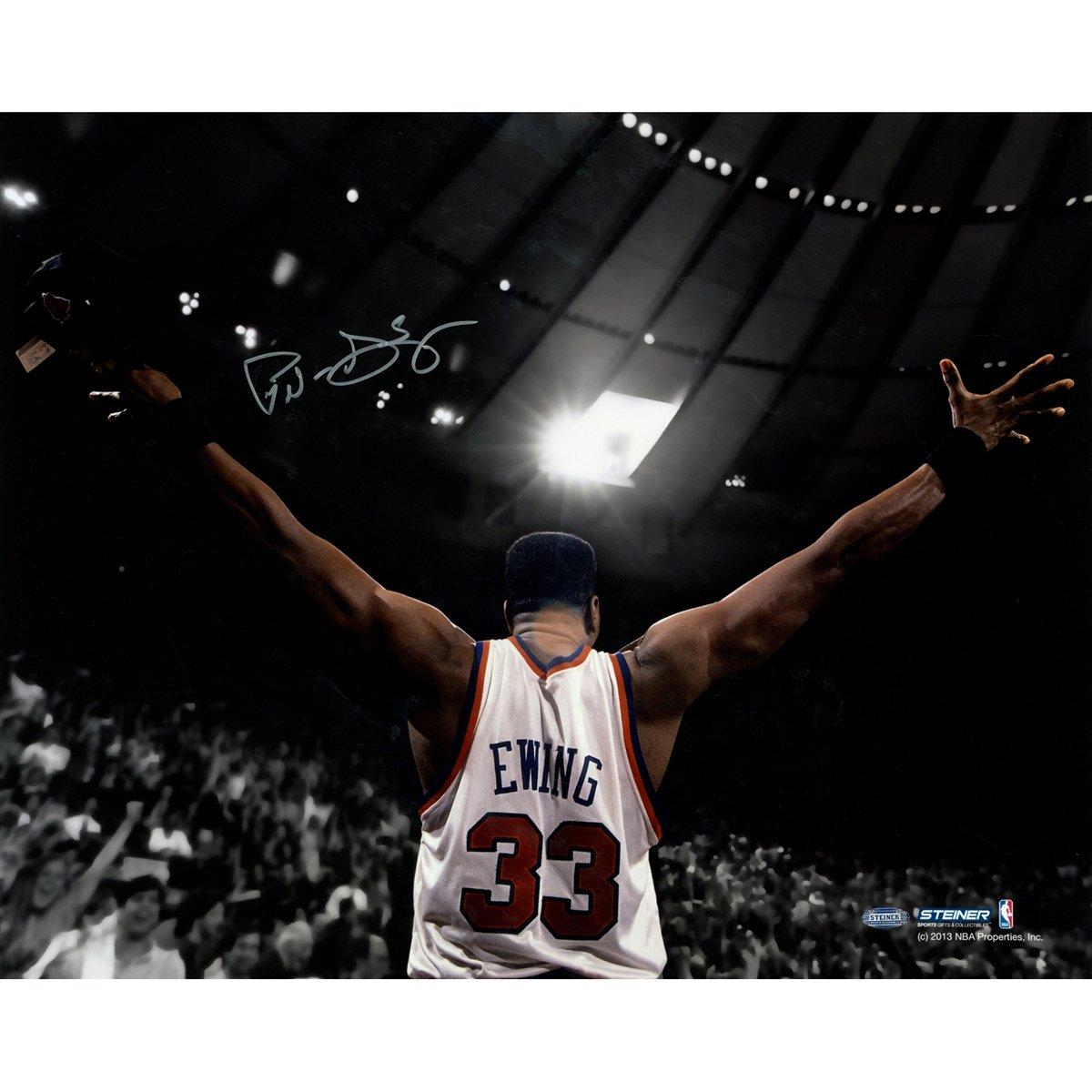 NBA New York Knicks Patrick Ewing Signed Arms Out Facing Crowd Photograph, 16'' x 20''