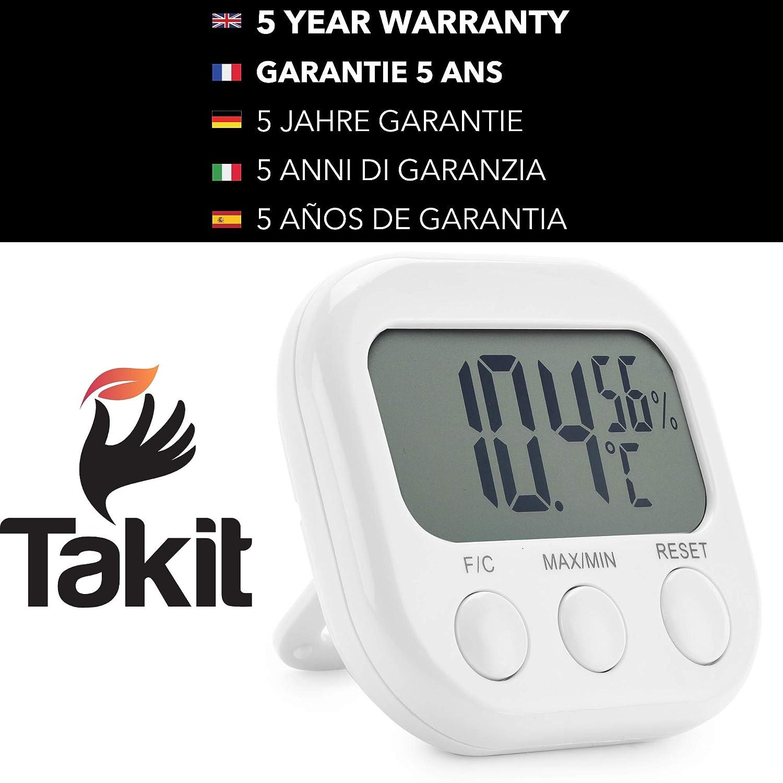 Indicador Digital De Temperatura Y Humedad TAKIT Termometro Digital Y Higr/ómetro Para Interiores Alta Precisi/ón GARANT/ÍA DE 5 A/ÑOS