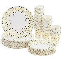 Platos Desechables y Vasos Cumpleaños, Juego de 180 Piezas Vasos de Carton y Plates con Patrón Dorado - 60 Vasos de…