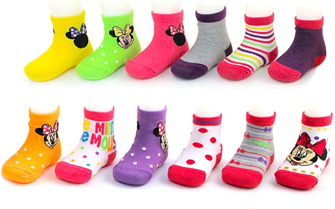 Disney Baby Boys Mickey Mouse Assorted Color Design 12 Pair Socks Set Age 0-24M