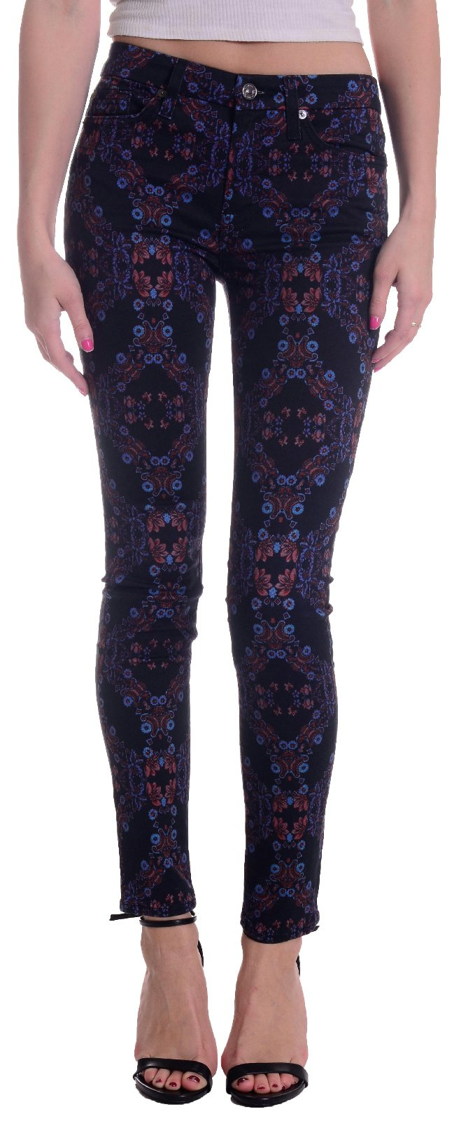 7 For All Mankind Women's The Mid Rise Skinny w/ Contour Waistband in Radiant Stained Glass Radiant Stained Glass 25 X 30.5