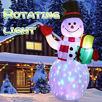Ourwarm 5ft Christmas Inflatables Blow Up Yard Decorations Upgraded Snowman Inflatable With Rotating Led Lights For Christmas Decorations Indoor