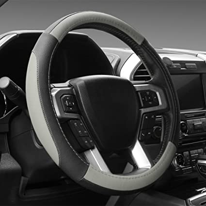 Seg Direct Black And Gray Microfiber Leather Steering Wheel Cover For F 150 Tundra Range Rover 15 5 16