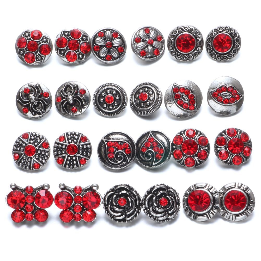 Soleebee 24 Pièces 12mm Même couleur Bouton Pression en Strass Alliage Bijoux Charms Yiwu shuoling E-Commerce Co. Ltd XHJ24