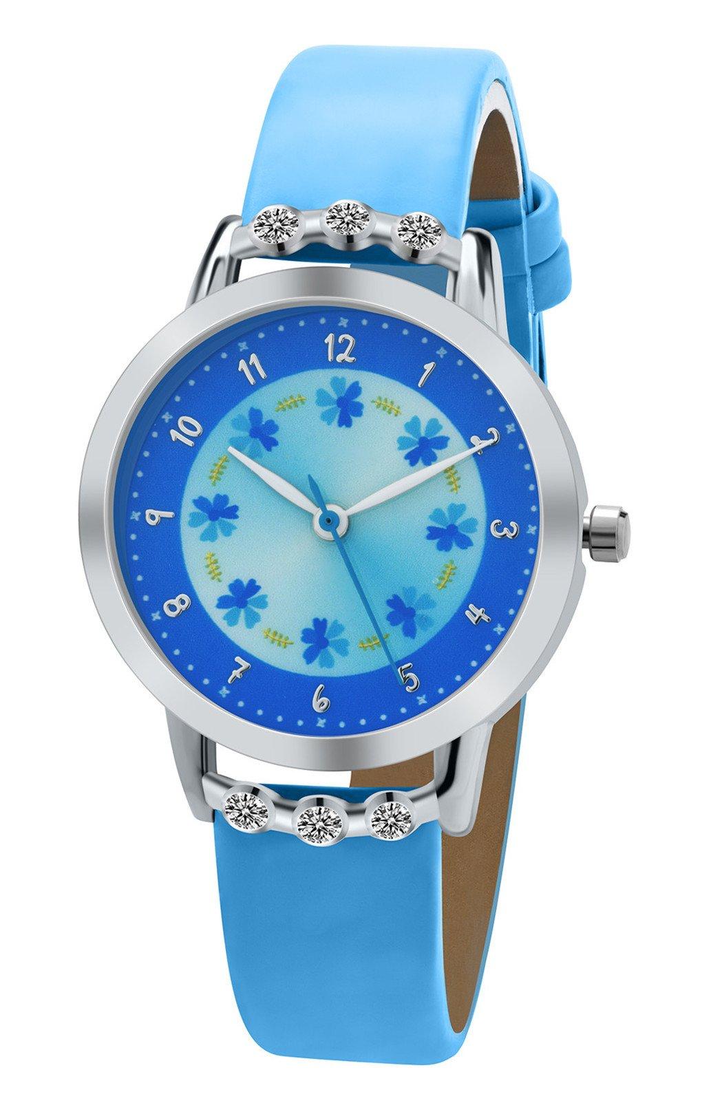 DOVODA Girls Watches Easy Reader Time Teacher Flowers Diamond Blue Leather Kids Watch