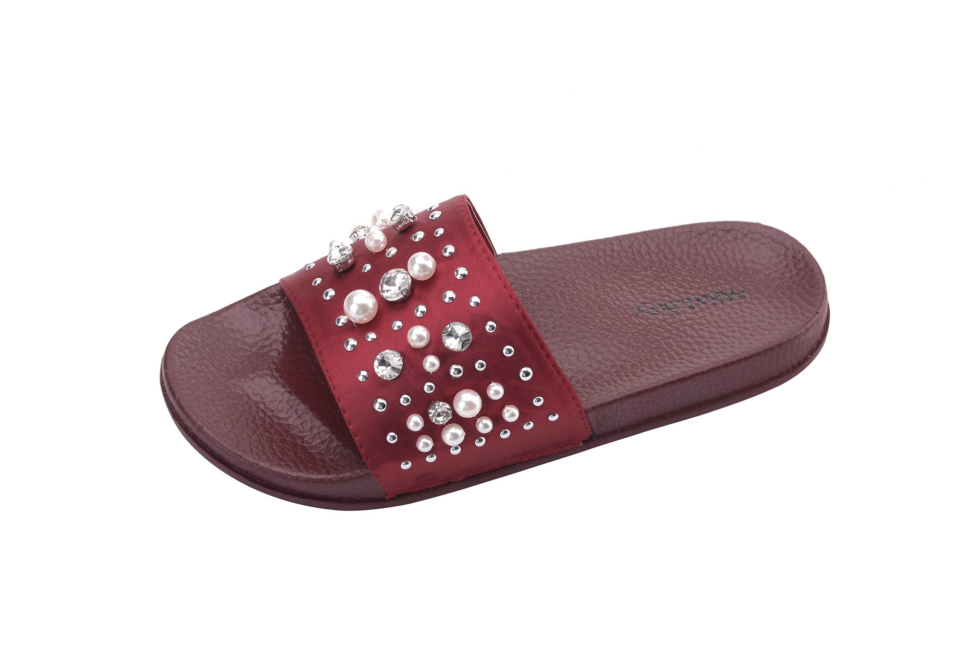 Ashley A Collection Sandy Women's Fashion Slipper with Pearl and Rhinestone Upper Slip On Silky Slide Sandal, RED6