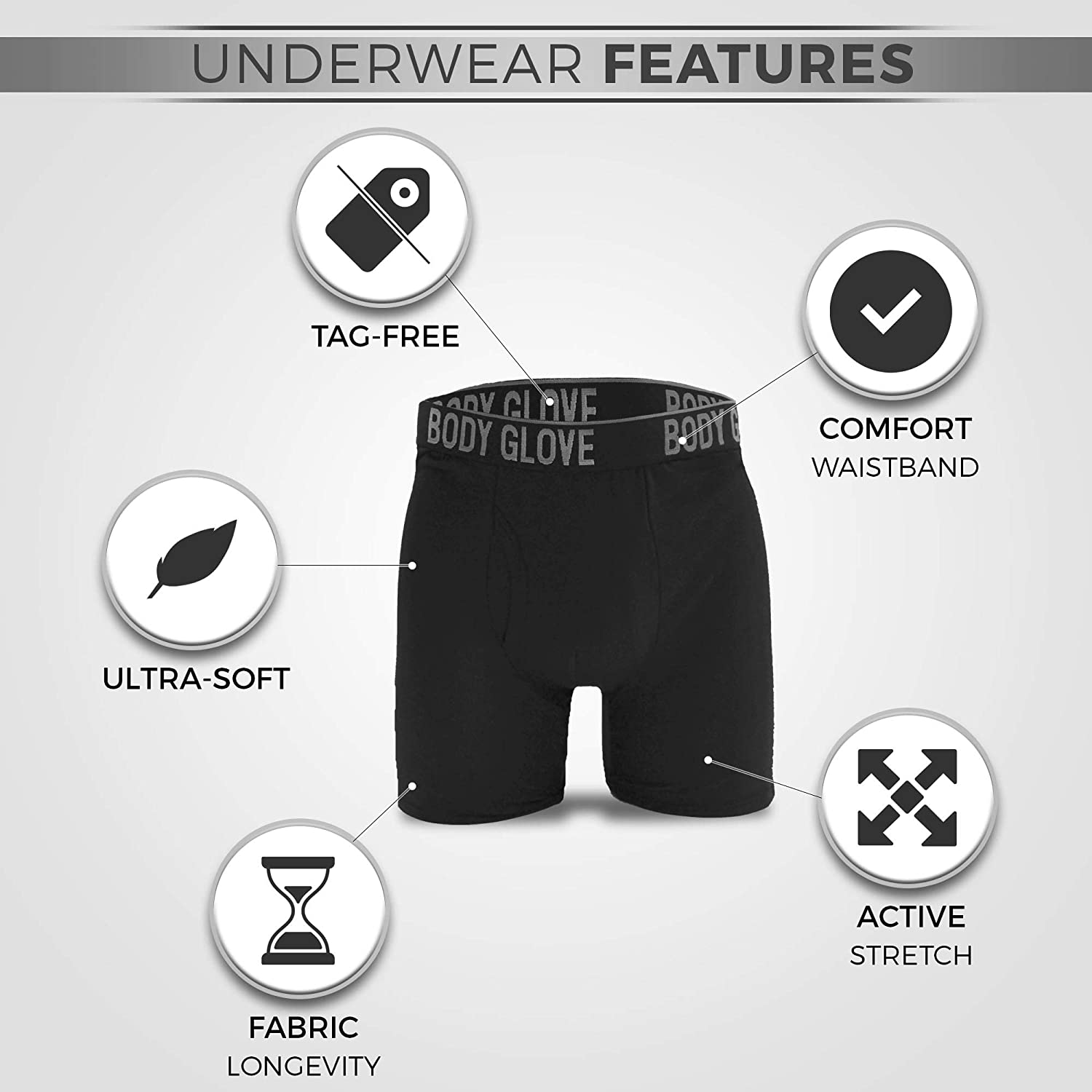 Body Glove 5-Pack Mens Micro Modal Boxer Briefs with Contoured Shape