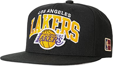 Mitchell & Ness Angeles Lakers HUD127 Black Team Arch Snapback Cap ...