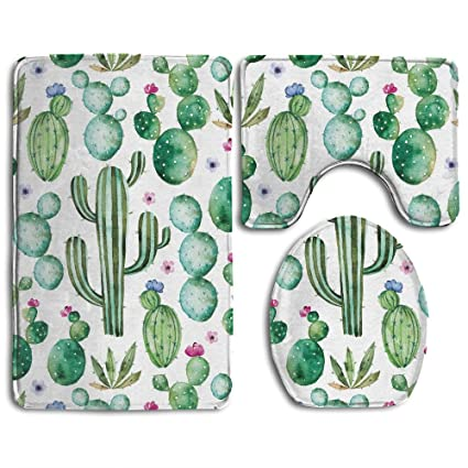 Hexu Cactus Plants Spikes Cartoon Like Art Print White Light Pink And Lime  Green Bathroom Rug