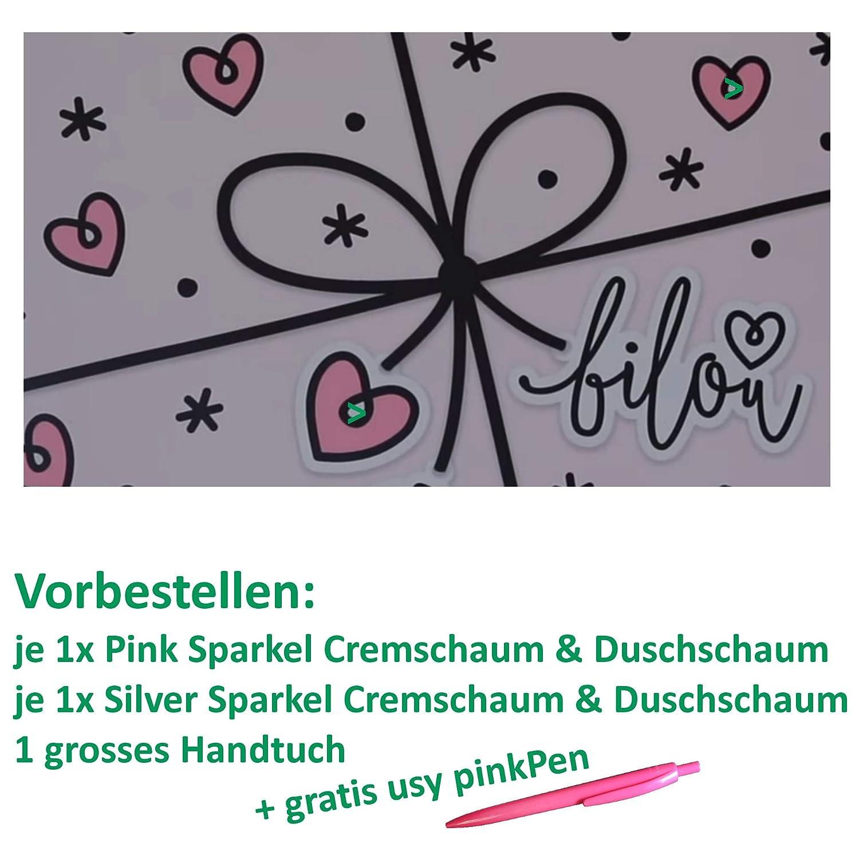 Bilou Geschenkbox Let it sparkle mit Duschtuch und usy PinkPen