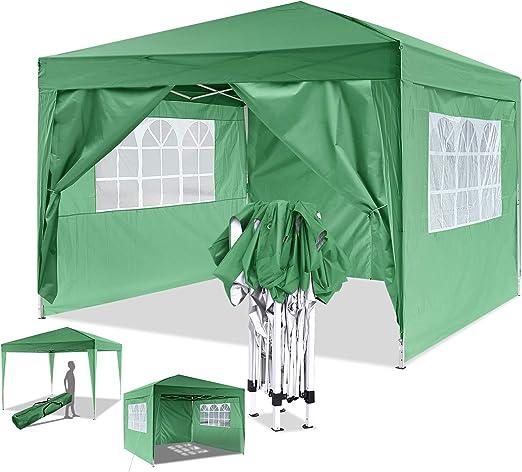 Eloklem Carpa con Paredes | Plegable, Impermeable, con Protección Solar, Ideal para Fiestas en el Jardín | Gazebo, Cenador, Pabellón, Tienda Fiestas (3x3 m, Verde): Amazon.es: Jardín