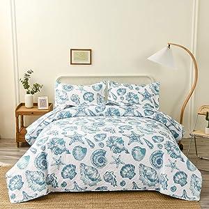 Ocean Bedding Twin Size Beach Quilts Set Coastal Lightweight Bedspread Printed Seaweed Starfish Seashell Reversible Bedspread Coverlet Set Decor Bedrome