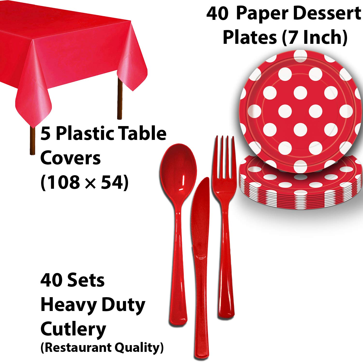 Disposable Tableware, 40 Sets - Midnight Black and Ruby Red - Striped Dinner Plates, Dotted Dessert Plates, Cups, Lunch Napkins, Cutlery, and Tablecloths: Premium Quality Party Supplies Set by HeroFiber (Image #4)