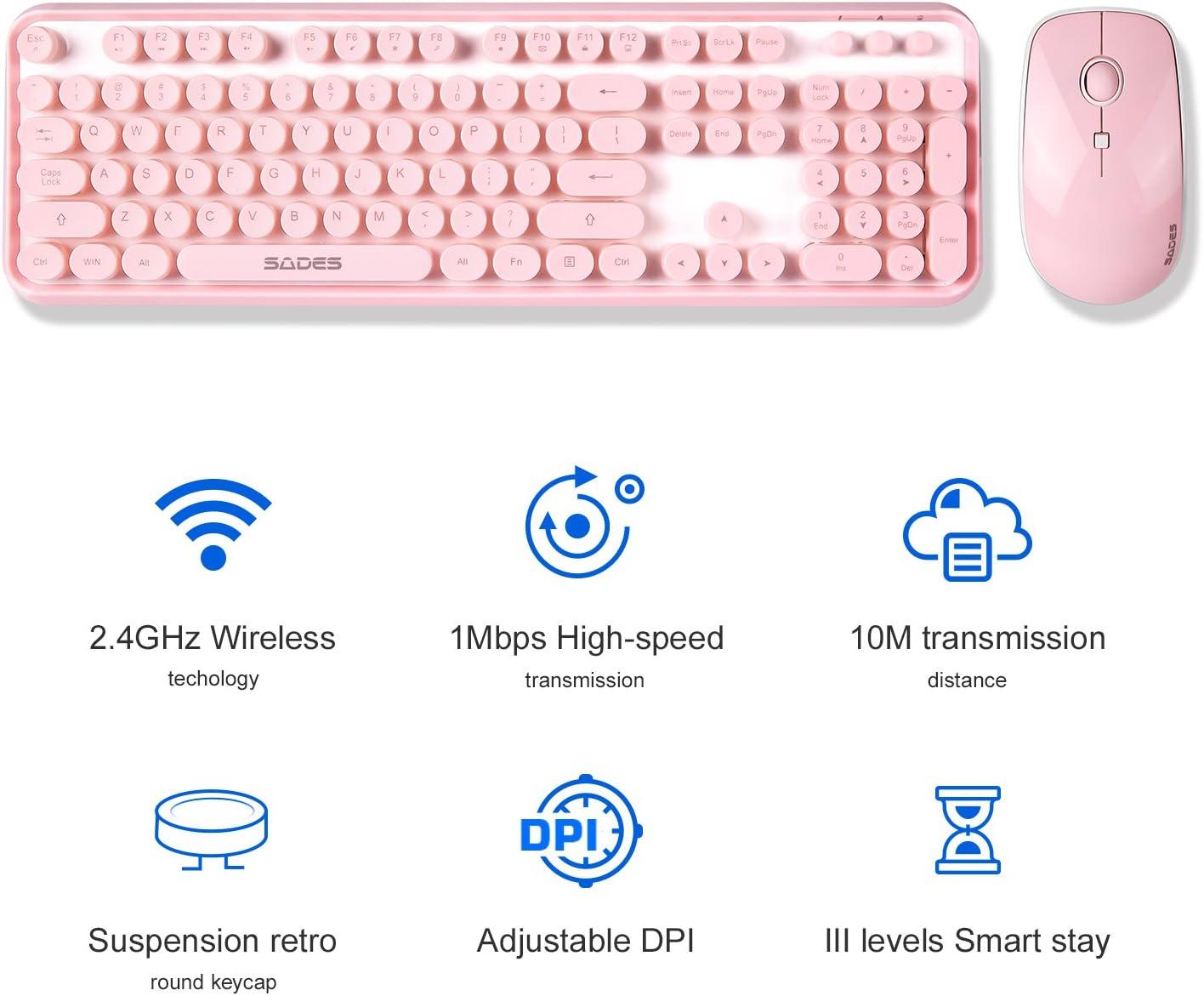 SADES V2020 - Juego de teclado y ratón inalámbricos, teclado rosa con teclas redondas, conexión sin caídas de 2,4 GHz, batería de larga duración para ...