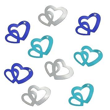 Amazon De Oblique Unique 100 Stk Deko Doppel Herzen Im Farbmix Blau