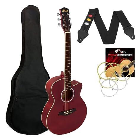 Tiger - Guitarra acústica para principiantes (tamaño 3/4), color ...