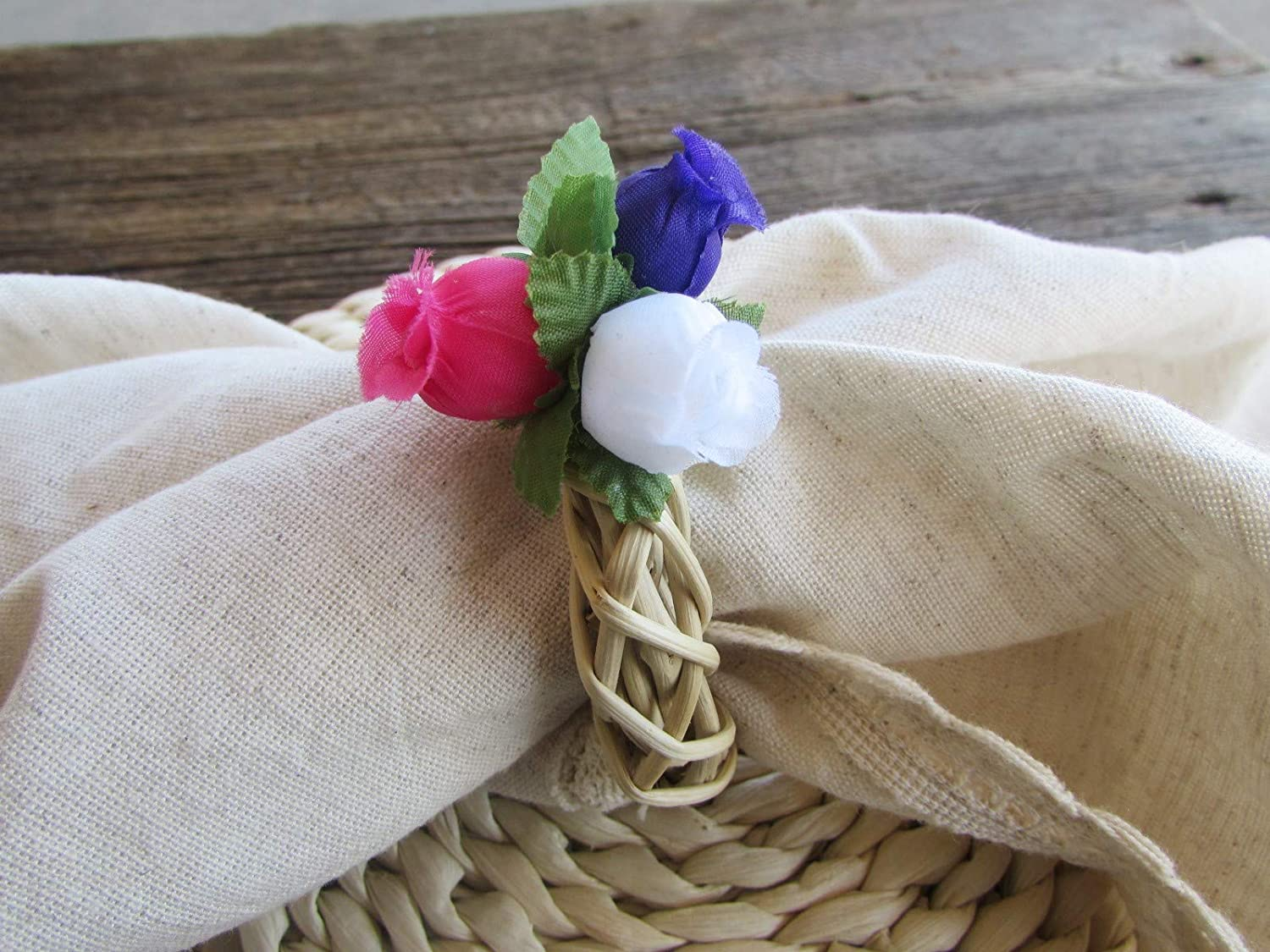 Spring Flower Wreath Pink /& Mint Green Rose Napkin Ring Holders Set of 4, 6, 8, 10, 12, 16 Rustic Kitchen Table Decor