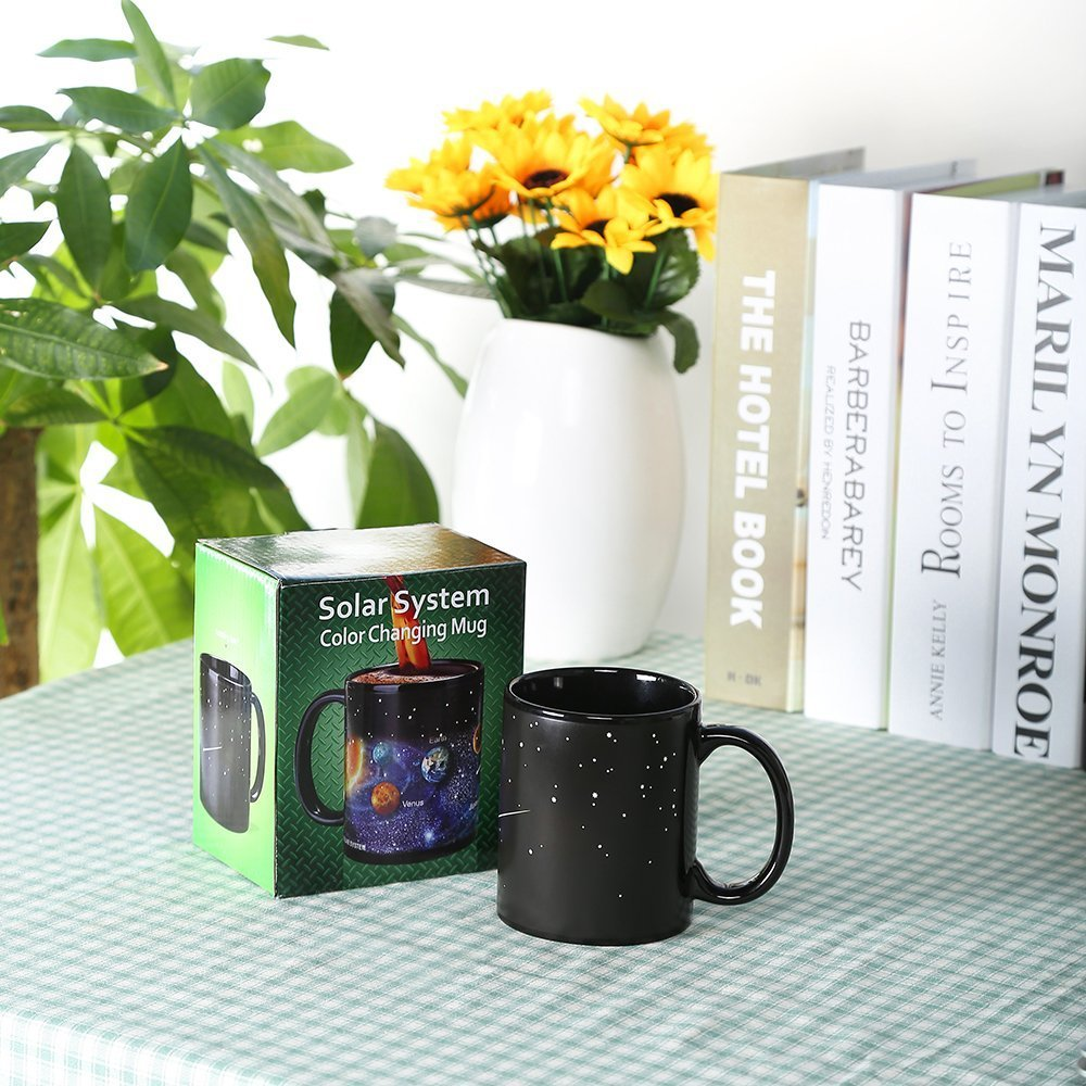 Heat Sensitive Color Changing Coffee Mug Magic Heat Changing Mugs Solar System Porcelain Tea Cup Funny Morphing Mugs Unique Christmas Birthday Gifts for Men, Boyfriend, Friends, Husband, 12 Oz