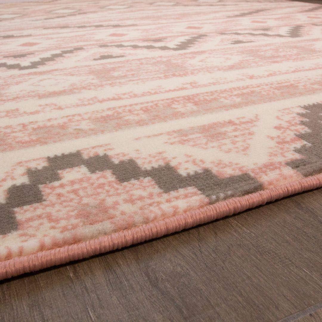 Soft Blush Pink Aztec Grey Kids Rug Tribal Boho Geometric Pastel Small Nursery Living Room Rug