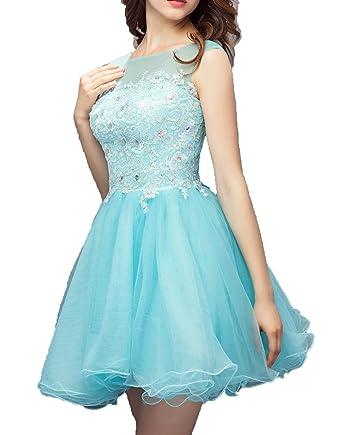 c414a2bf2e9 Udresses Womens A-line Beaded Homecoming Dresses 2017 Short Lace Prom Gown  FX110 Sky Blue