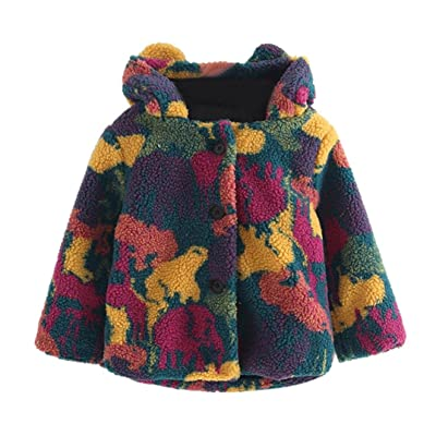 3-7T Toddler Girl Faux Fur Camouflage Hooded Button Coat With Rabbit Ear Thick Jacket Outwear