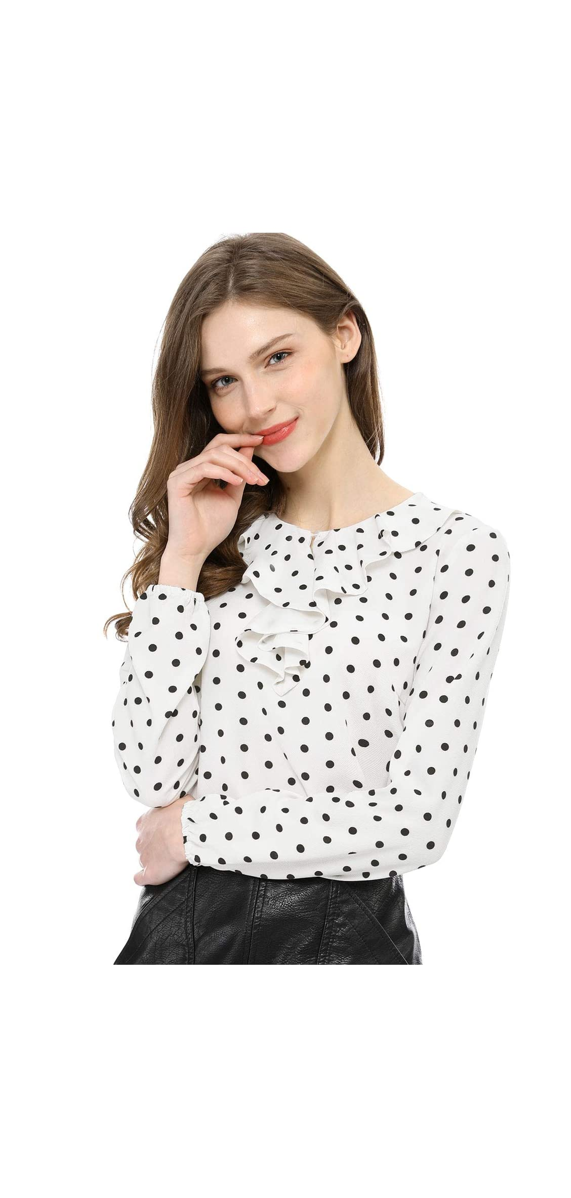 Women's Ruffle Neck Long Sleeve Vintage Polka Dots
