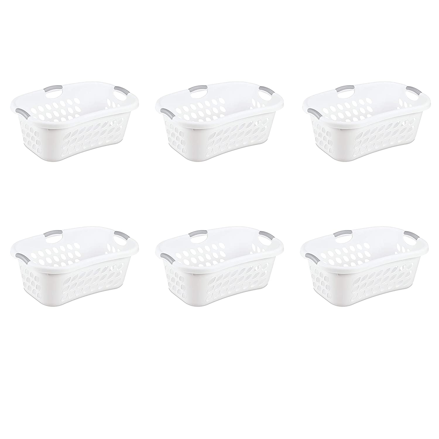 Sterilite 12108006 1.25 Bushel/44 Liter Ultra Hip Hold Laundry Basket, White Basket w/ Titanium Inserts, 6-Pack
