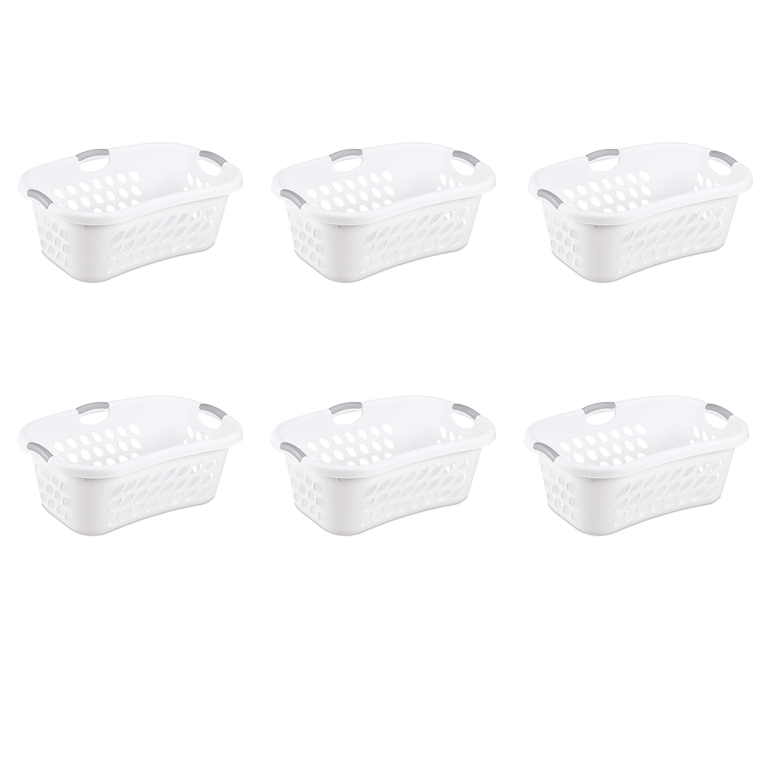 Sterilite 12108006 1.25 Bushel/44 Liter Ultra Hip Hold Laundry Basket, White Basket w/ Titanium Inserts, 6-Pack by STERILITE