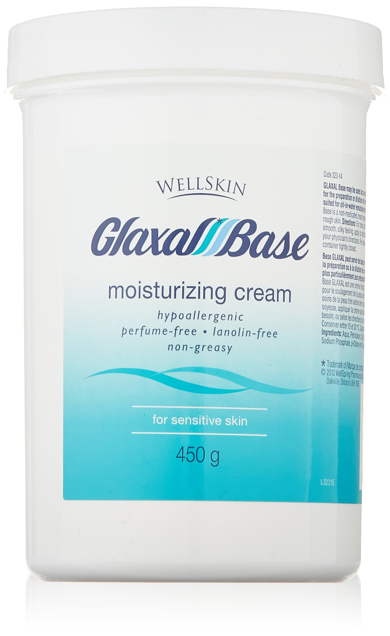 Wellskin Glaxal Base Moisturizing Cream - 450g (15.9 Oz) Large Size