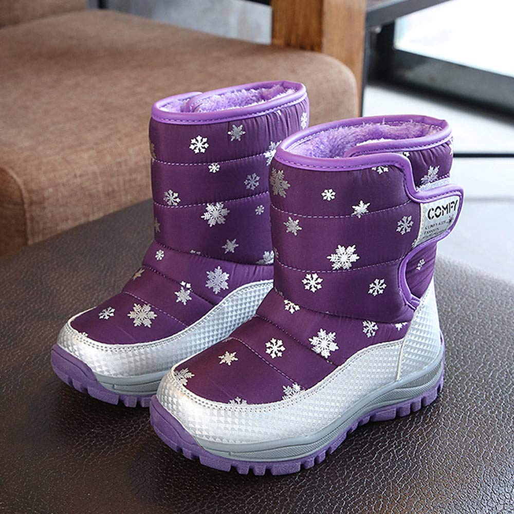 Winter Anti-Slip Hook and Loop Plush Thicken Mid Boots Sneakers Shoes 4-8T Kids Baby Warm Snow Boots