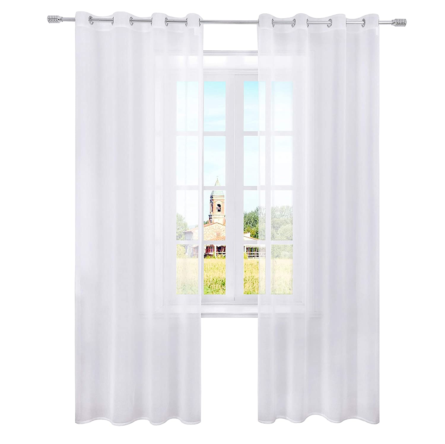 27887ec8802 Amazon.com  Selectex Linen Look Semi-Sheer Curtains - Grommet Voile Curtains  for Living and Bedroom