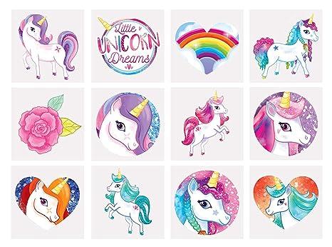 HENBRANDT 24 tatuajes temporales de unicornio para niñas ...