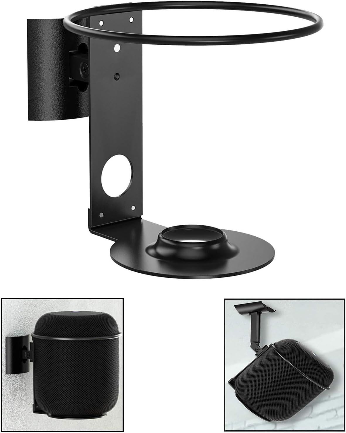 Wall Mount Holder Compatible with Apple HomePod Tilt & Swivel Adjustable Bracket Stand for Apple HomePod Smart Speaker, Black